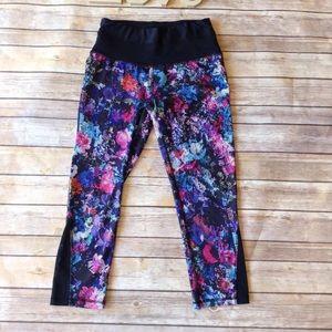 RBX black multi color floral print Capri leggings